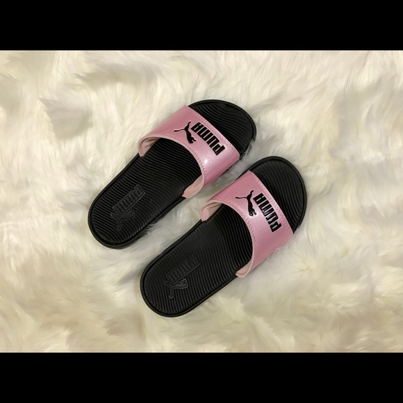 Puma Shoes - Pink & Black Puma Slides. Size 6 in Women's